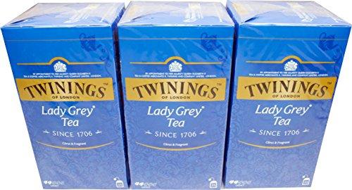 Twinings of London Lady Grey 3 x 25 Teebeutel Aromatisierter Schwarztee