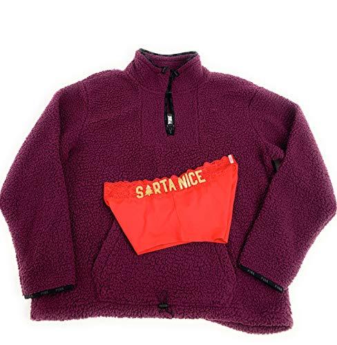 Victoria's Secret Large Pullover Sherpa Sweatshirt Panty Bundle set of 2. 1 Large Sweatshirt and Large Boyshort Panties Purple