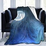 VORMOR Soft Fleece Throw Blanket,Cielo Nocturno con Estrellas Luna Llena Universo Espacio Cuerpos celestiales Noche romántica,Home Hotel Sofá Cama Sofá Mantas para Parejas Niños Adultos,100x120cm