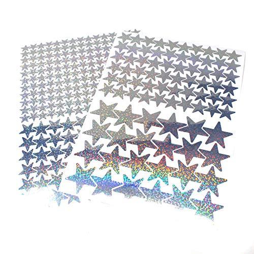 309 Sterne Aufkleber Set Sticker Deko Folie selbstklebend Glitter Hologramm Oilslick Bastelmaterial zum Basteln (Flakes Silber K016)