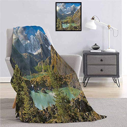 Luoiaax Waterfall Fluffy Plush is Soft and comfortableMountains and Hills Photo Throw The daybed Office Camp W70 x L90 Inch