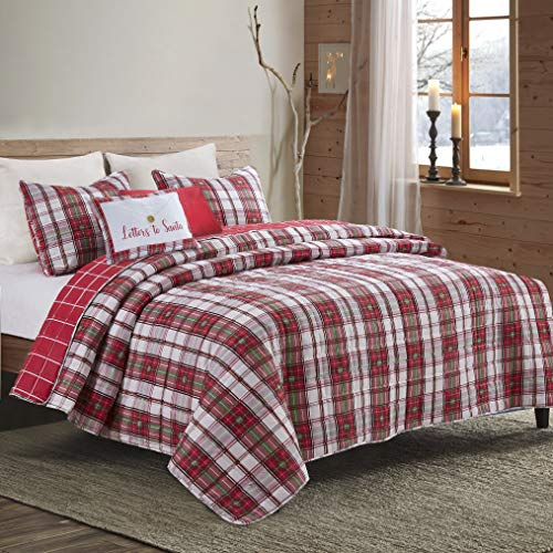 Hedaya Home Fashions Christmas Quilt Set - Letters to Santa - Plaid Red/Green - 5-Pc King