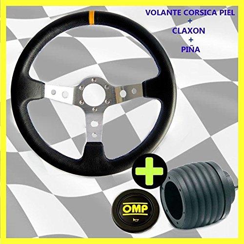 VOLANTE TIPO CORSICA PIEL+PIÑA GOLF MK1 (Brazos Negros/Linea Roja)