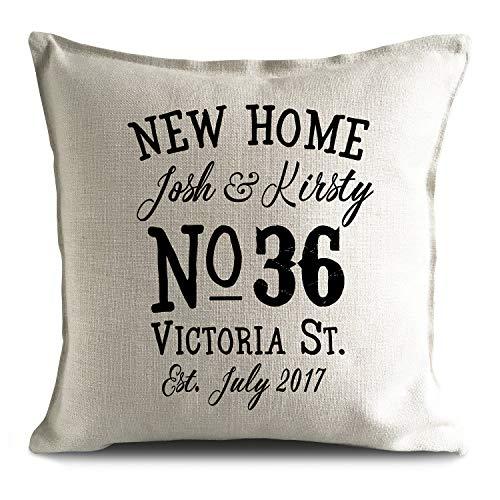 Toll2452 - Funda de cojín Personalizable para casa o casa, Regalo de Calidez, Estilo Vintage, para decoración del hogar, número de casa
