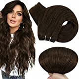 Hetto Trama Dei Capelli Umani Estensioni 4 Dark Brown Unprocessed Remy Real Brazilian Virgin Hair 20 Pollici 100G Double Weft Thick Human Hair Hair Extensions