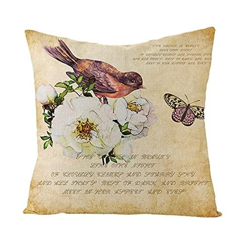Agoble Cojines Sofa, Otoño Decoracion Poliéster 1 45X45Cmfunda Cojin Blanco Beige Cartas De Pájaros De Flores