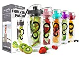 Live Infinitely 32 oz. Infuser Water Bottles - Featuring a Full Length Infusion Rod, Flip Top Lid, Dual Hand Grips...
