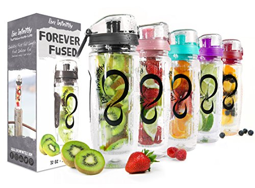 Live Infinitely 32 oz. Infuser Water Bottles - Featuring a Full Length Infusion Rod, Flip Top Lid, Dual Hand Grips & Recipe Ebook Gift (Pure Black, 32 oz)