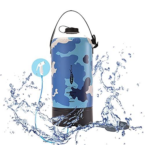 キャンプ用シャワー、携帯用圧力屋外シャワーバッグバッグ折りたたみウォーターバッグ、フットポンプと旅行の夏の入浴用プレスタイプのシャワーノズル,A
