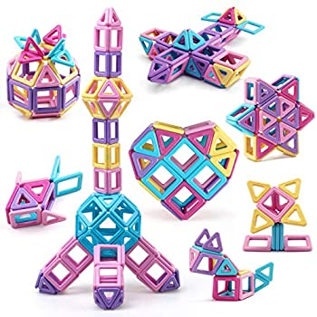 Amy&Benton Mini Castle Magnetic Building Blocks for Kids Toddlers and Babies Small Magnetic Blocks STEM Toys 80PCS Magnetic Tiles Toys