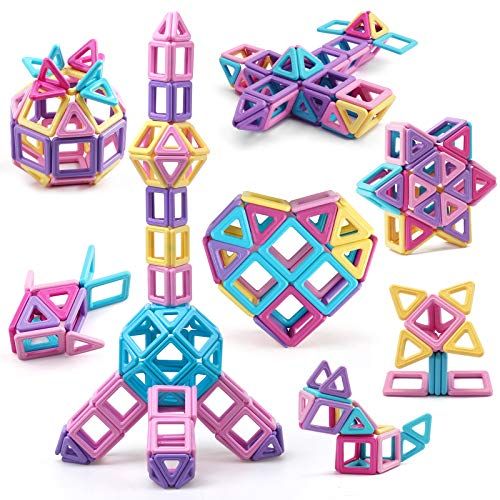Amy&Benton Mini Castle Magnetic Building Blocks for Kids Toddlers and Babies Magnetic Blocks Small STEM Toys 80PCS Magnetic Tiles Toys