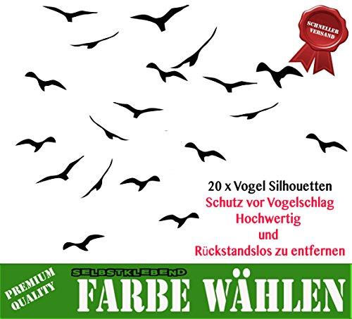 MacDecal.de Vogelschutz 20 Greifvögel Aufkleber Sticker Scheibenschutz Schlagschutz Vogel Silhouette Wintergarten Glashaus (schwarz)
