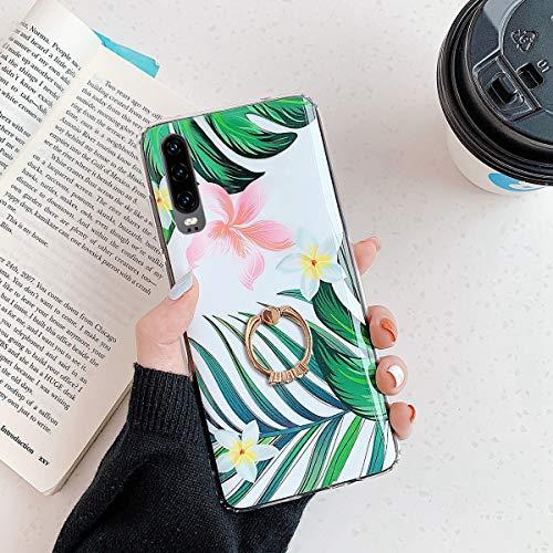 Herbests Kompatibel mit Huawei P30 Handyhülle Case Blumen Blätter Muster TPU Silikon Hülle mit Ring Halter Ständer Schutzhülle Ultradünn Tasche Rückschale Stoßfest Case,Grün Blätter
