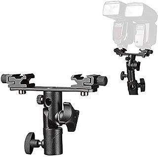 TEZONG Adjustable Dual Flash Bracket Hot Shoe Speedlight Stand Umbrella Socket Holder Light Stand Bracket Mount 1/4