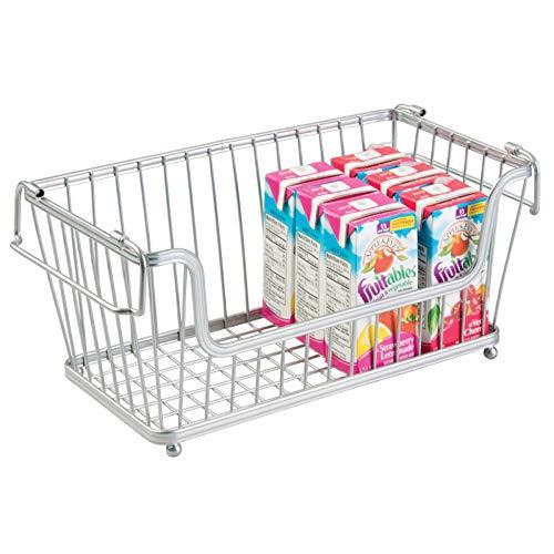 mDesign Cesto organizador metálico con asas – Atractivo organizador de cocina con diseño de rejilla – Cesta metálica ideal para armarios de cocina, despensa o cuarto de baño – plateado