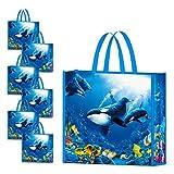 NymphFable 6 Pezzi Borse Spesa Riutilizzabili Balena Subacquea Sacchetti Spesa Impermeabile Pieghevole Grande Ecocompatibile