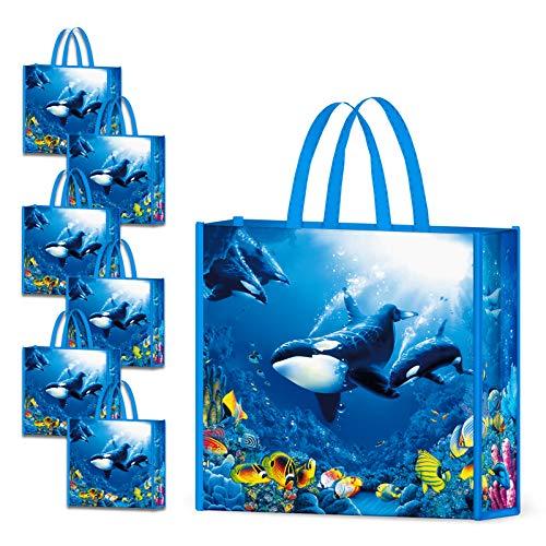 NymphFable 6 Stück Einkaufstasche Wiederverwendbare Unterwasserwelt Wal Einkaufstaschen Groß Faltbar Wasserdicht Einkaufstüte
