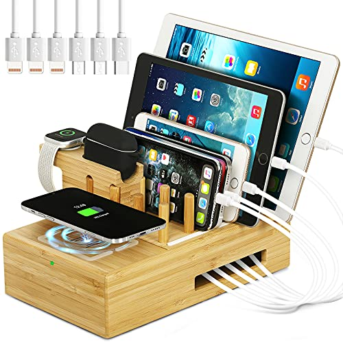 Bamboo Charging Station for Multiple Devices - Darfoo Docking Station...