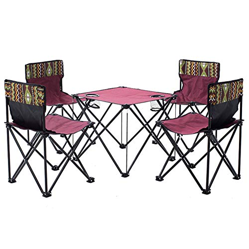 WL Mesa Plegable al Aire Libre y Juego de sillas Plegable portátil Mesa con Sillas de Picnic al Aire Libre Muebles de Auto-conducción Mesa portátil