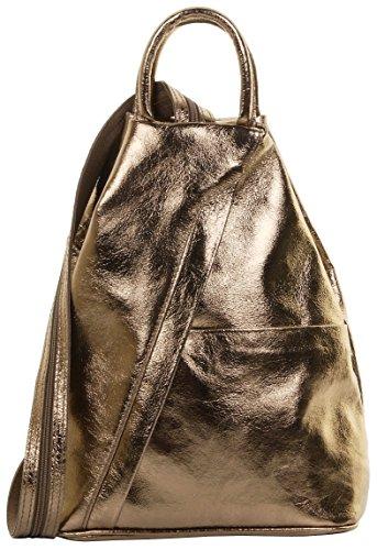 Primo Sacchi ® Italienisch Leder Metallisch Schultertasche Rucksack Rucksack aus Bronze. Inklusive Markenschutz-Aufbewahrungstasche