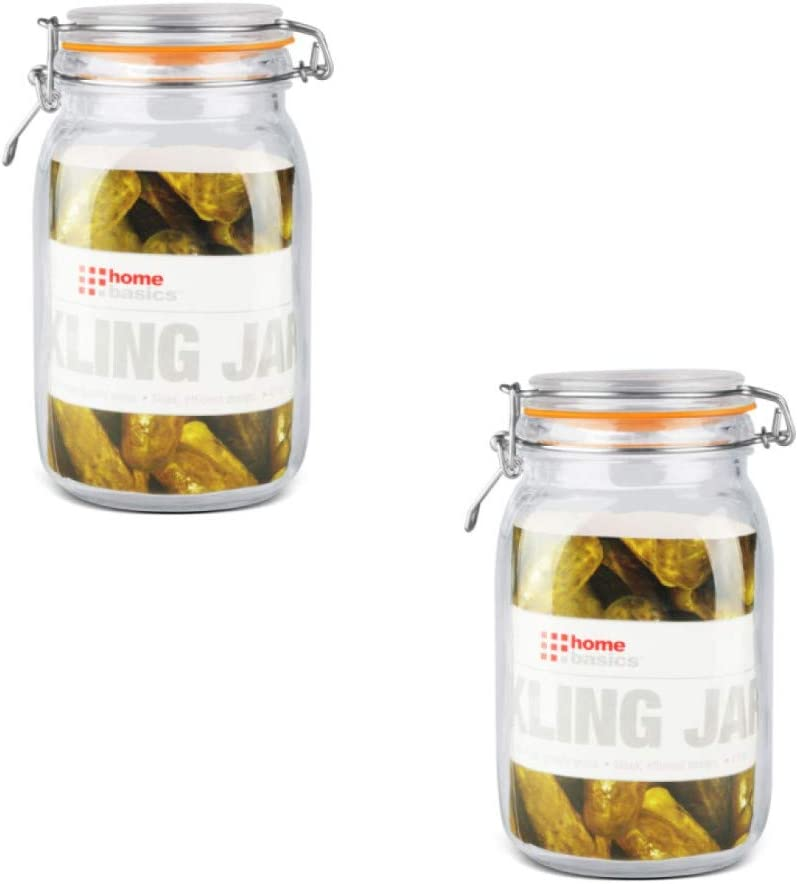 Home Basics 47 oz. Glass Pickling Easy-to-use Ranking TOP18 Jar Bail with Wire Lid and Rub