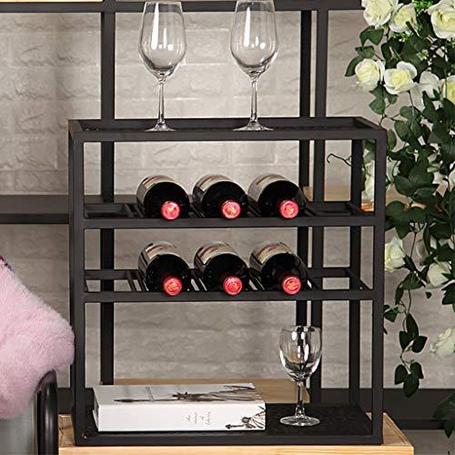 Lwjj Wijn Rack Opslag Display Planken Iron Top Gratis Staande Houder - 10 Flessen 6 Glazen