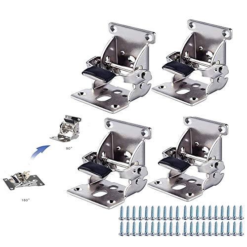 4 pcs Foldable Bracket-Folding Foot Hinge Bracket, self-Locking Hinge Hardware with Screw Lock Extension, Suitable for Table Legs, Bed Legs, worktables, etc. (A (Silver, 90~180 Degree Hinge))