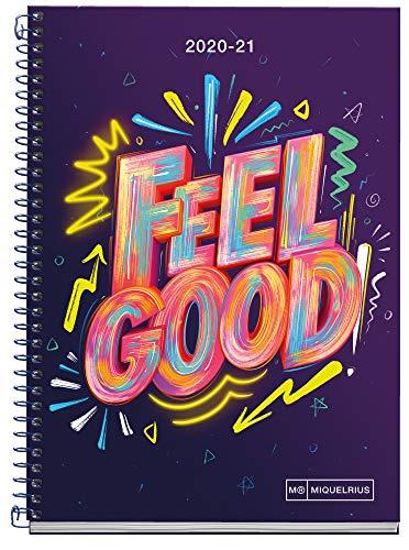 MIQUELRIUS - Agenda Escolar Feel Good Curso Lectivo 2020-2021, Español, Semana Vista, Tamaño 155x213 mm, Papel 70 g, Cubierta cartón extraduro, Color Lila