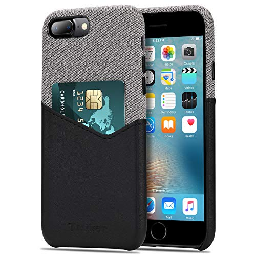 Tasikar Funda iPhone 7 Plus/Funda iPhone 8 Plus Carcasa Cartera de Cuero y Tela con Tarjetero Estuche Compatible con iPhone 7 Plus y iPhone 8 Plus (Negro)