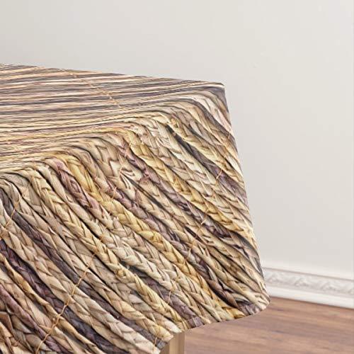 Mantel de mimbre tejido rústico de playa estilo isla tropical