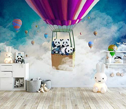 Fotobehang Cartoon hete lucht Ballon Panda Sky Kinderen Kamer Achtergrond Muur Papier muur-3D Wallpaper_300 * 210cm