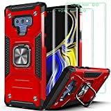 Note 9 Case Samsung Galaxy Note 9 Case,with 3D Curved HD Screen Protector[2 Pack] AYMECL Military Grade Double Shockproof Protective Case,with Kickstand,for Samsung Note 9-Red
