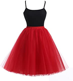 Lisong Women's A-Line Knee Length Layered Tutu Tulle Short Party Skirt