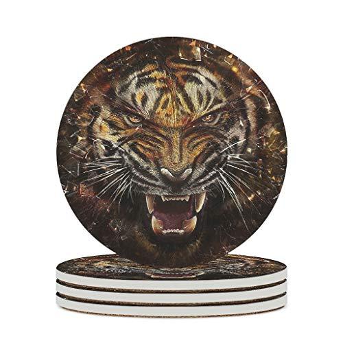 Haythan Posavasos de cerámica con diseño de tigre animal, duradero, de cerámica, personalizable, bonito para la oficina, regalo de cumpleaños, color blanco, 6 unidades