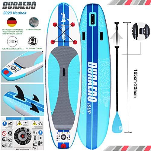 Tabla Hinchable Paddle Surf Sup Paddel Surf Bomba, Almohadilla integrada, Aleta Desprendible, Remo ajustable, Kit de Reparación, La Cinta para Atar al Pie, 305x76x15 cm, hasta 110 kg