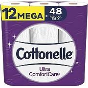 Cottonelle Ultra ComfortCare Toilet Paper, 12 Mega Rolls, Soft Bath Tissue (12 Mega Rolls = 48 Regular Rolls)