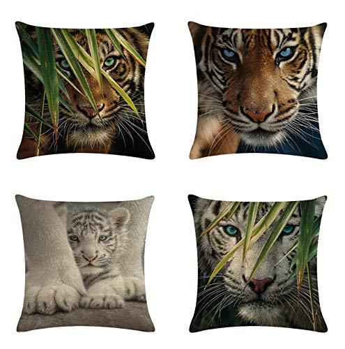 JZZCIDGa Funda De Cojín Tigre Animal, Ropa De Cama Sofá Funda De Coj