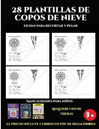 Fichas para recortar y pegar (28 plantillas de copos de nieve 2:...