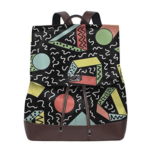 sunminey Damen Lederrucksack Linear Geometry Women Backpack Purse Waterproof Leather Anti-Theft Schoolbag Lightweight Rucksack Travel Bags