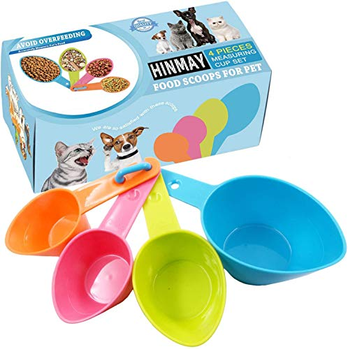 Himi Pet Food Scoops Plastic Measuring Cups - Set of 4 - Great for Dog, Cat and Bird Food