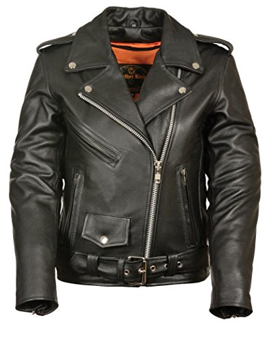 LC2701 Ladies Black Basic Classic Motorcycle Premium Leather Jacket with plain sides,3X