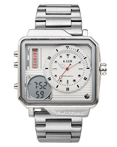 JSDDE Uhren Armbanduhr Dual LCD Digital Quarz Uhrwerk Armbanduhr mit Kalender Wecker Stoppuhr Edelstahl Metallband Wasserdicht Uhr für Herren Männer