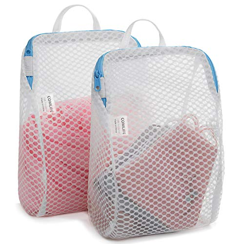 Set of 2 Delicates Honeycomb Mesh Laundry Bag with Handle Extra Large Opening Side Widening Design Face Mask Baby Products Socks Fine Knitwear Mesh Wash Bags 2 Medium