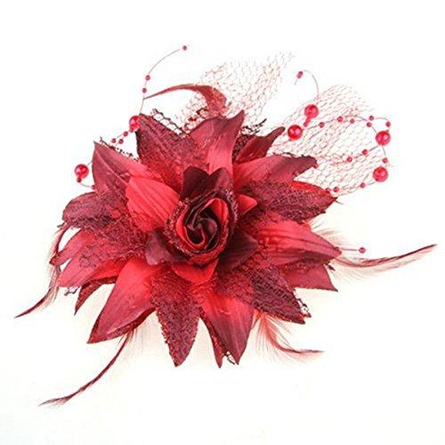 WOVELOT Pinza Broche para Pelo Cabello Pluma Organdi Flor Rojo
