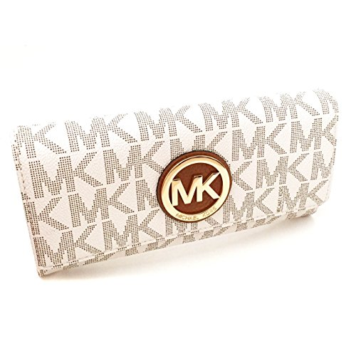 Michael Kors Women's Fulton Signature Long Continental Clutch Wallet Vanilla/Acorn …