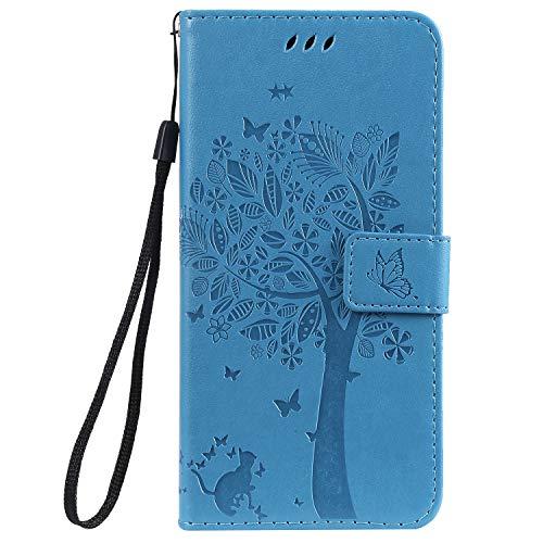 Docrax Handyhülle Lederhülle für Nokia 8.1 2018, Flip Case Schutzhülle Hülle mit Standfunktion Kartenfach Magnet Brieftasche für Nokia8.1 - DOKTU080477 Blau