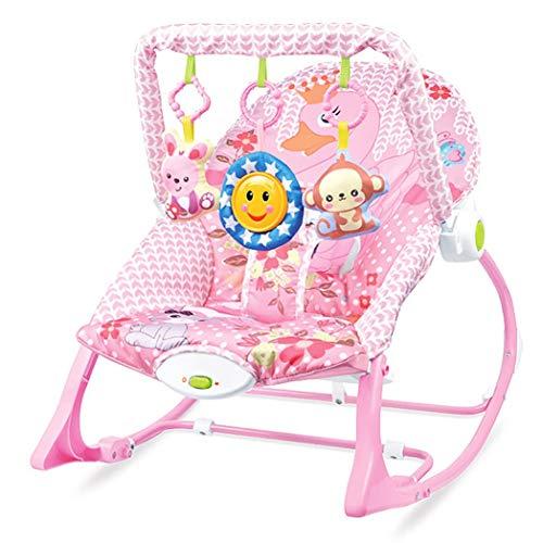 JCSW Balancin Bebe Columpios Infantiles, Vibraciones Relajantes, Hamaca Bebe con Sistema Balancín y Reductor, Cosas para Bebes Columpio Bebe de 0 a 18 kg, Azul, G007JY (Color : Pink)