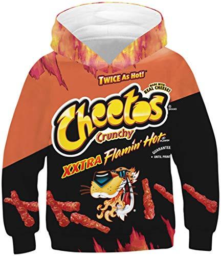 EUDOLAH Jungen Sweatshirts für 4-13 Alter Kinder Langarm 3D Druck Mehrfarbig Bunt Kids Herbst Winter Hemd mit Kaputzen Flamin Hot XL