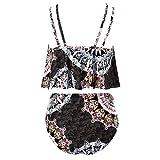 jieGorge Traje de baño Control de Barriga, Bikini para Mujer Conjunto de Estampado Traje de baño Sujetador Relleno de Dos Piezas Traje de baño Ropa de Playa, Traje de baño para Mujer (Negro M)
