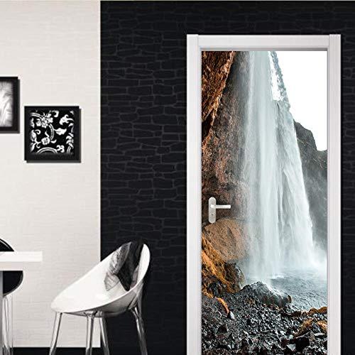 BXZGDJY 3D-deursticker, deurfolie, Alpiner, waterval, deurbehang, zelfklevend, deur, zelfklevende 3D-deur-raam-behang, verwijderbare deur-decoratie-plakaat muursticker voor binnen 90X200CM